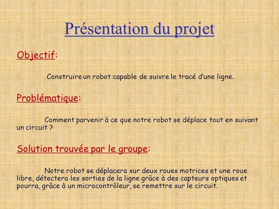 Présentation du projet Objectif: Construire un robot capable de suivre le tracé dune ligne. Problématique: Comment parvenir à ce que notre robot se dé