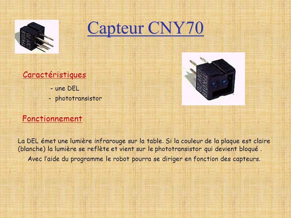 Capteur CNY70 Caractéristiques - une DEL - phototransistor Fonctionnement La DEL émet une lumière infrarouge sur la table. Si la couleur de la plaque