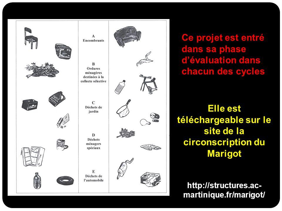 Ce projet est entré dans sa phase dévaluation dans chacun des cycles Elle est téléchargeable sur le site de la circonscription du Marigot http://struc