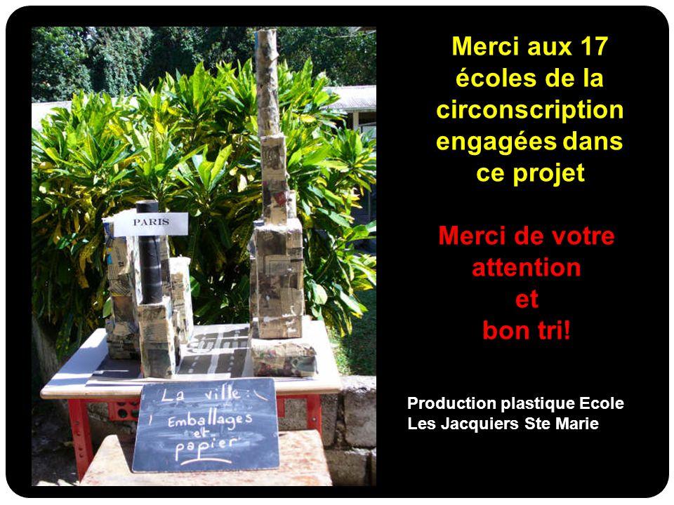 Merci de votre attention et bon tri! Production plastique Ecole Les Jacquiers Ste Marie Merci aux 17 écoles de la circonscription engagées dans ce pro