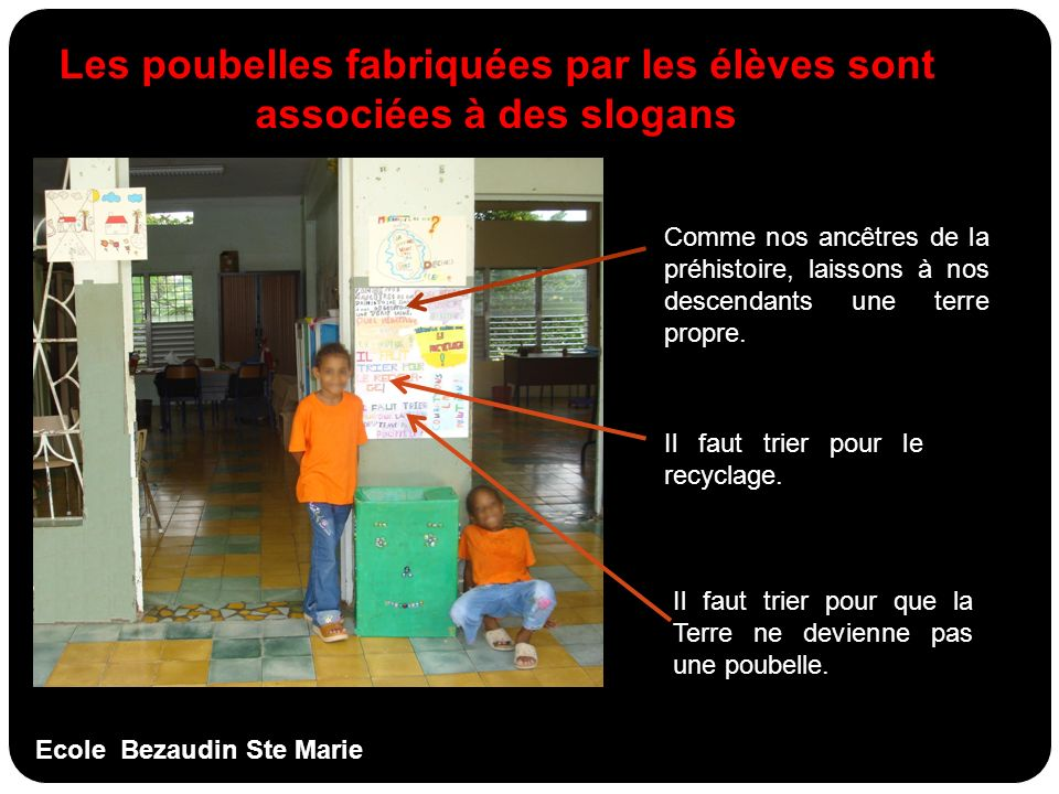Ecole Bezaudin Ste Marie Les poubelles fabriquées par les élèves sont associées à des slogans Comme nos ancêtres de la préhistoire, laissons à nos des
