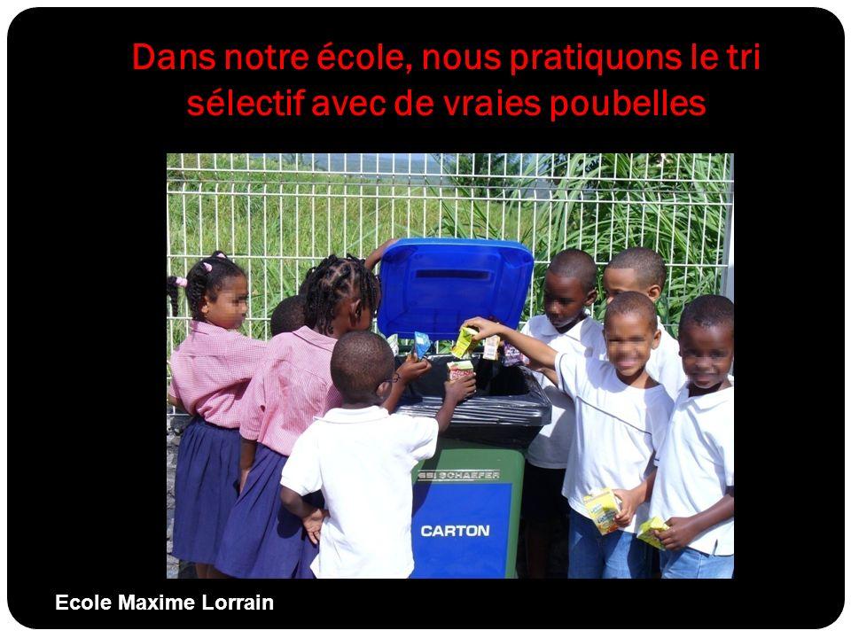 Dans notre école, nous pratiquons le tri sélectif avec de vraies poubelles Ecole Maxime Lorrain