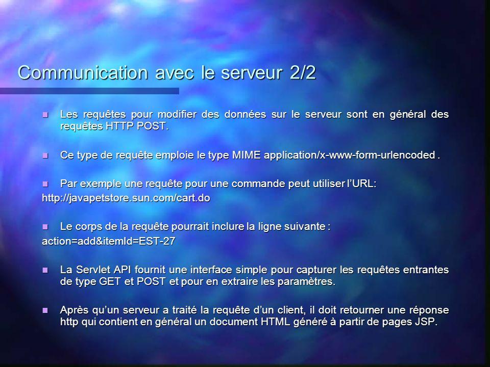 Communication avec le serveur 2/2 Les requêtes pour modifier des données sur le serveur sont en général des requêtes HTTP POST. Les requêtes pour modi