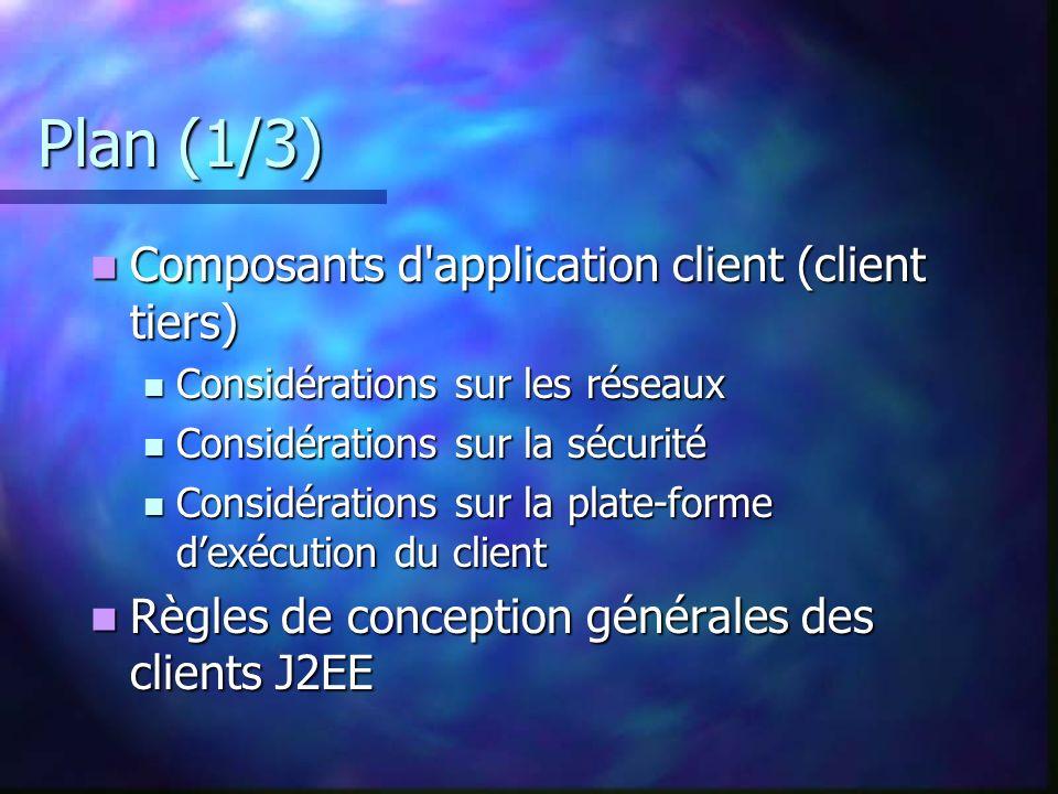 Plan (1/3) Composants d'application client (client tiers) Composants d'application client (client tiers) Considérations sur les réseaux Considérations