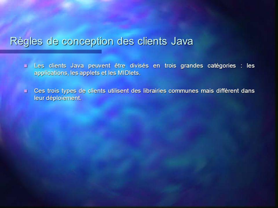 Règles de conception des clients Java Les clients Java peuvent être divisés en trois grandes catégories : les applications, les applets et les MIDlets