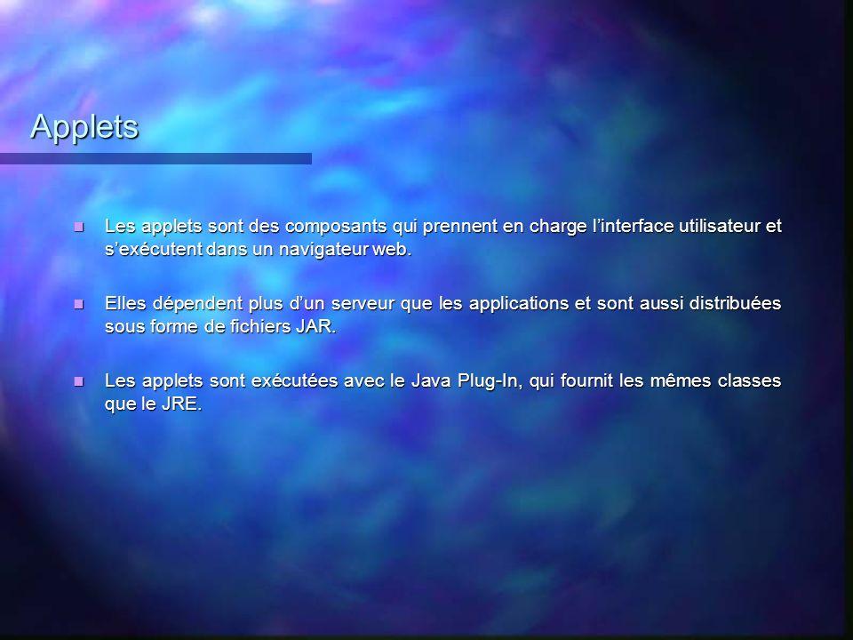 Applets Les applets sont des composants qui prennent en charge linterface utilisateur et sexécutent dans un navigateur web. Les applets sont des compo
