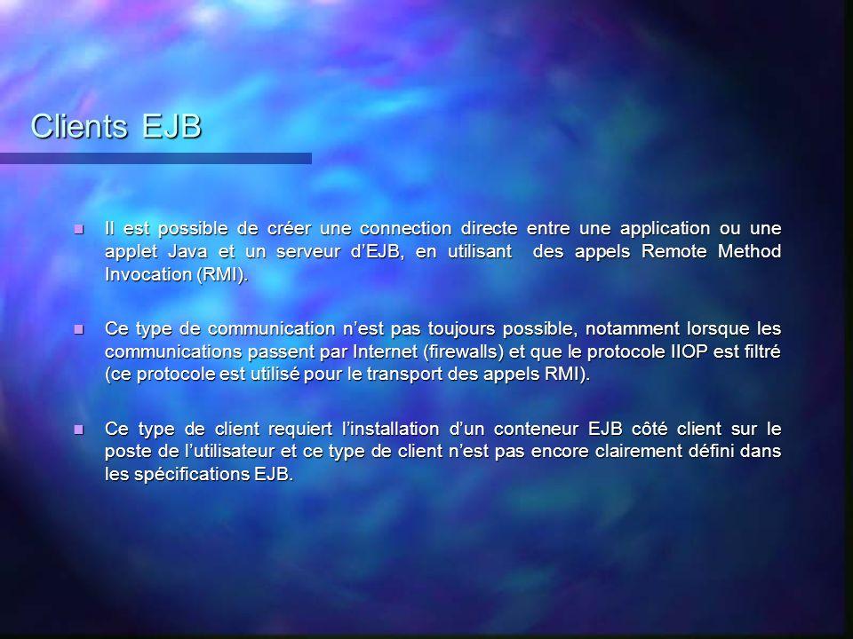 Clients EJB Il est possible de créer une connection directe entre une application ou une applet Java et un serveur dEJB, en utilisant des appels Remot