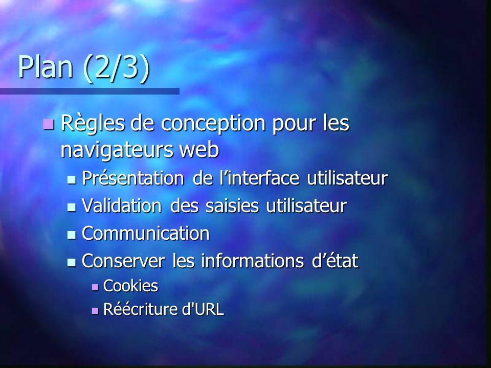 Plan (2/3) Règles de conception pour les navigateurs web Règles de conception pour les navigateurs web Présentation de linterface utilisateur Présenta