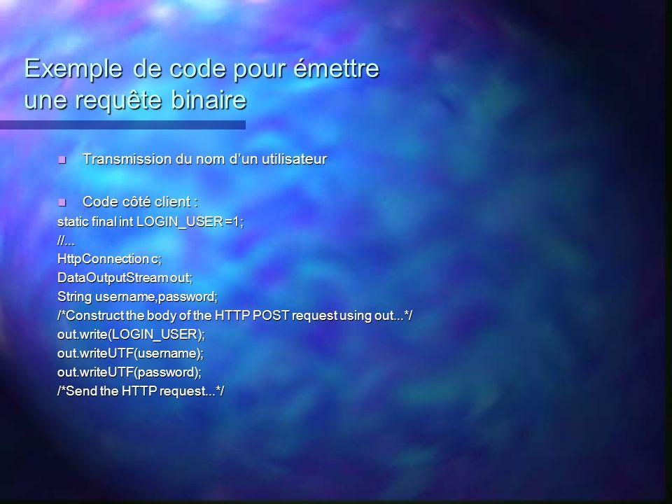 Exemple de code pour émettre une requête binaire Transmission du nom dun utilisateur Transmission du nom dun utilisateur Code côté client : Code côté