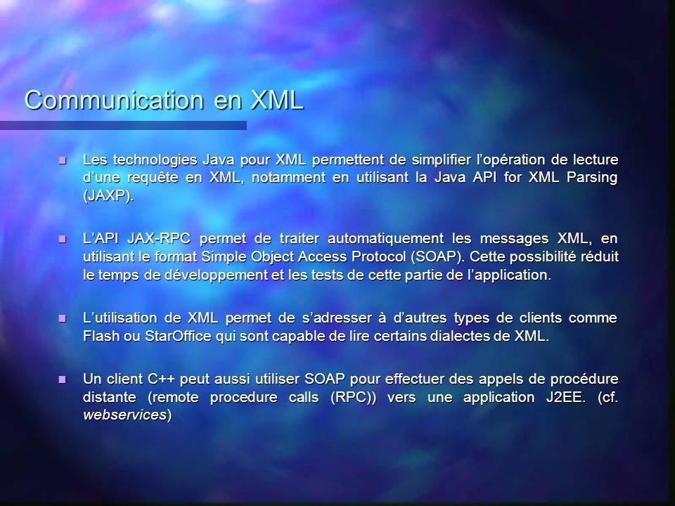 Communication en XML Les technologies Java pour XML permettent de simplifier lopération de lecture dune requête en XML, notamment en utilisant la Java