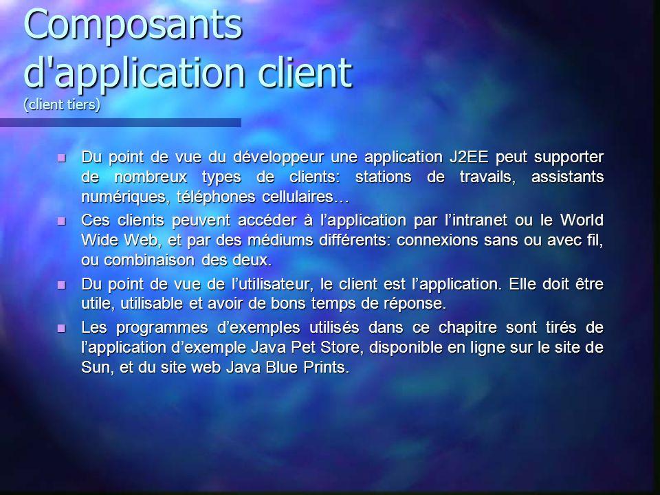 Composants d'application client (client tiers) Du point de vue du développeur une application J2EE peut supporter de nombreux types de clients: statio