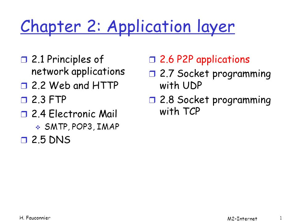 M2-Internet 1 Chapter 2: Application layer r 2.1 Principles of network applications r 2.2 Web and HTTP r 2.3 FTP r 2.4 Electronic Mail SMTP, POP3, IMAP r 2.5 DNS r 2.6 P2P applications r 2.7 Socket programming with UDP r 2.8 Socket programming with TCP H.