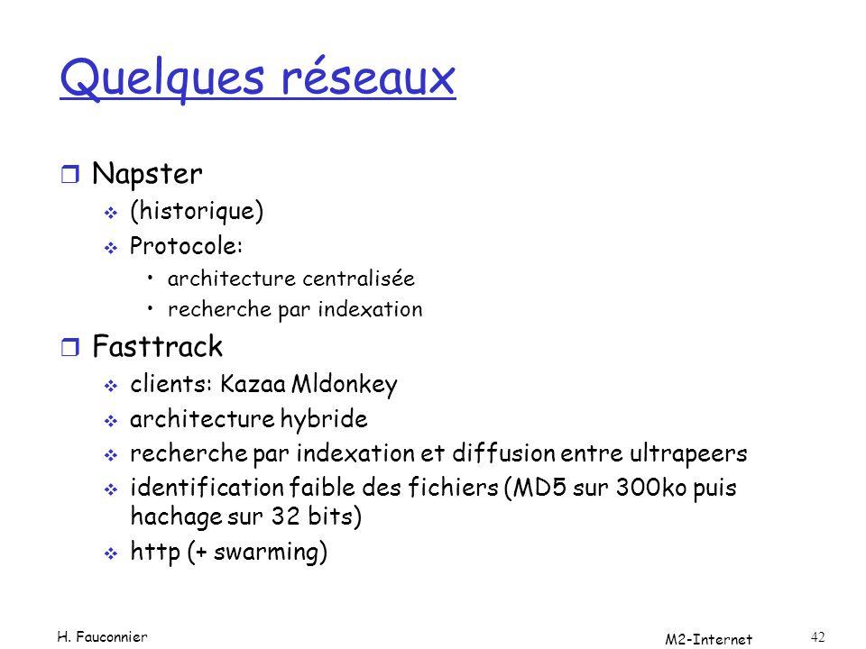 M2-Internet 42 Quelques réseaux r Napster (historique) Protocole: architecture centralisée recherche par indexation r Fasttrack clients: Kazaa Mldonke