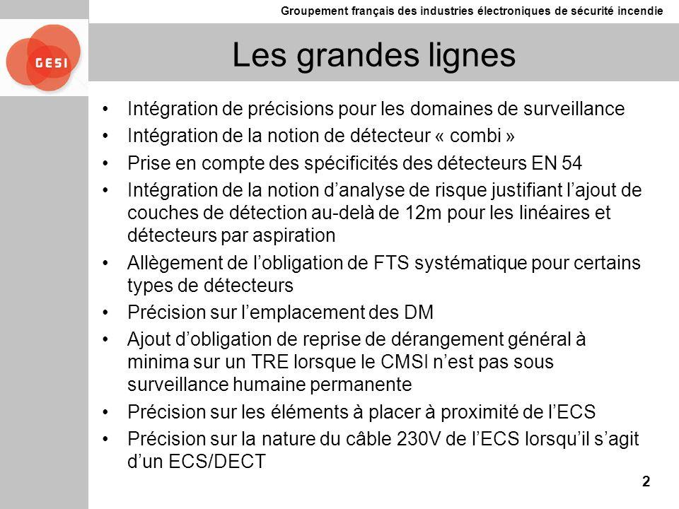 Groupement français des industries électroniques de sécurité incendie Les grandes lignes Intégration de précisions pour les domaines de surveillance I
