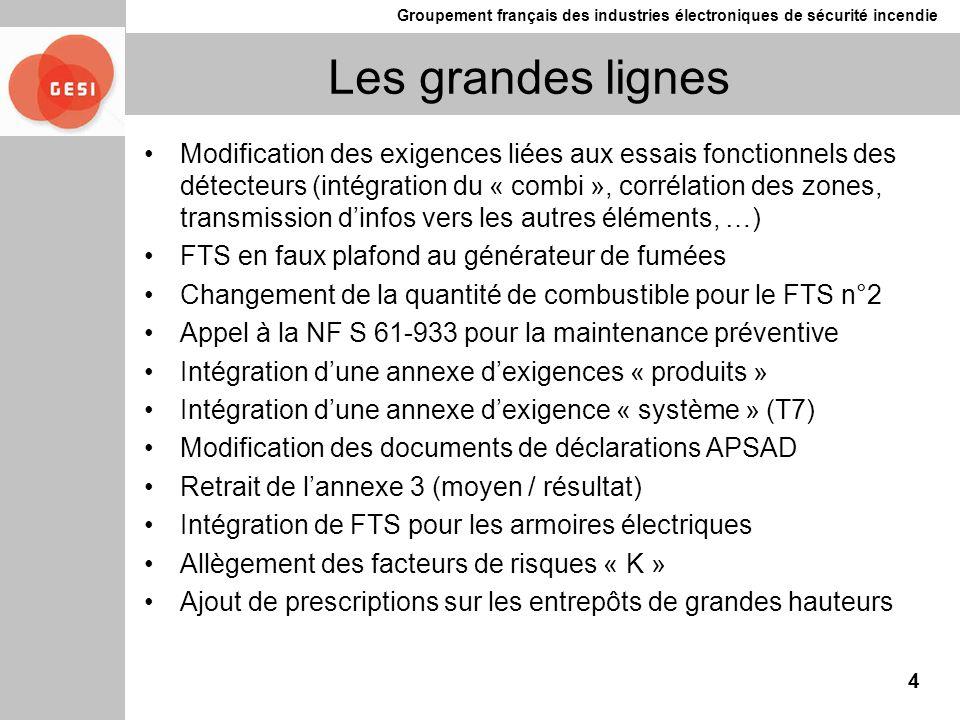 Groupement français des industries électroniques de sécurité incendie Les grandes lignes Modification des exigences liées aux essais fonctionnels des
