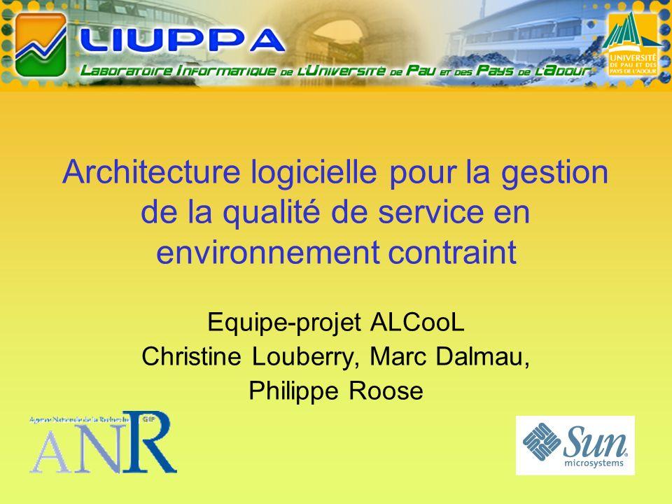 Architecture logicielle pour la gestion de la qualité de service en environnement contraint Equipe-projet ALCooL Christine Louberry, Marc Dalmau, Philippe Roose