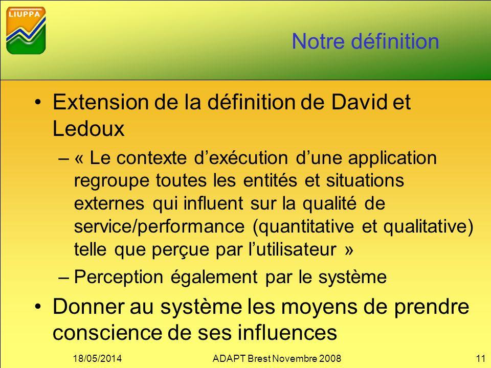 Notre définition Extension de la définition de David et Ledoux –« Le contexte dexécution dune application regroupe toutes les entités et situations ex