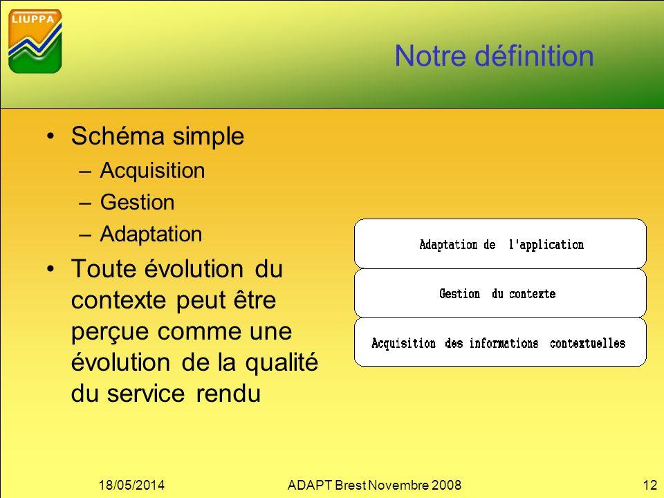 Notre définition Schéma simple –Acquisition –Gestion –Adaptation Toute évolution du contexte peut être perçue comme une évolution de la qualité du service rendu 18/05/2014ADAPT Brest Novembre 200812