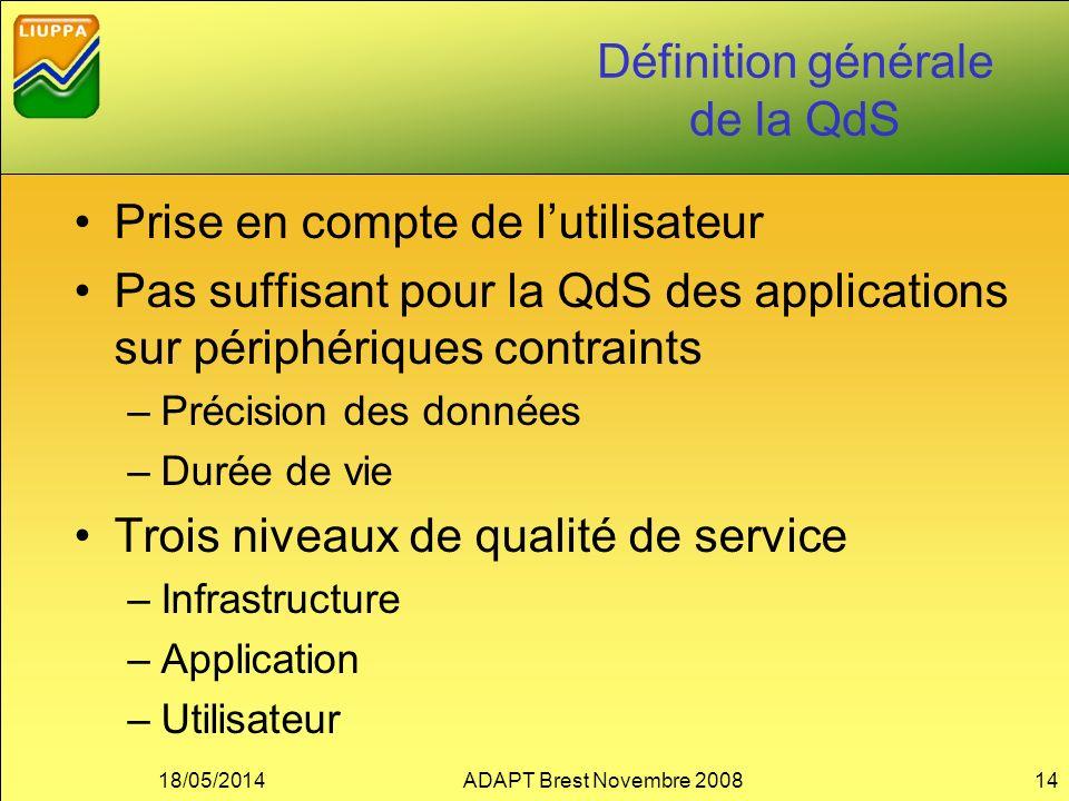 Définition générale de la QdS Prise en compte de lutilisateur Pas suffisant pour la QdS des applications sur périphériques contraints –Précision des d