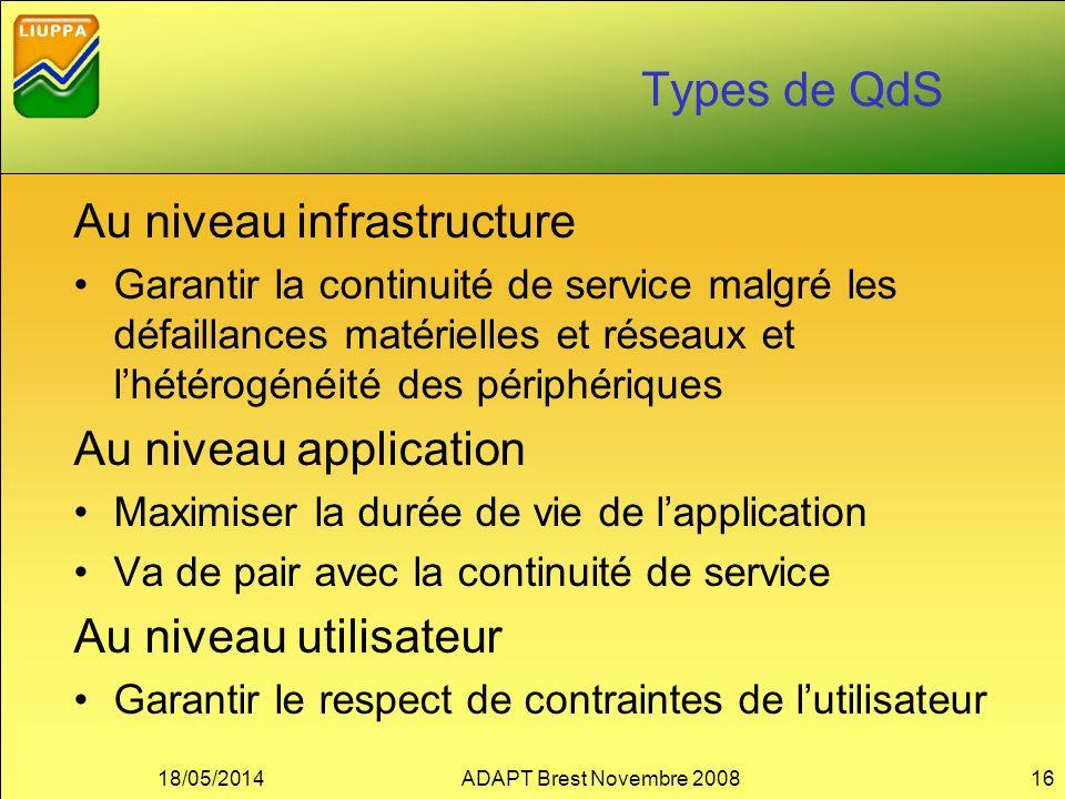 Types de QdS Au niveau infrastructure Garantir la continuité de service malgré les défaillances matérielles et réseaux et lhétérogénéité des périphéri