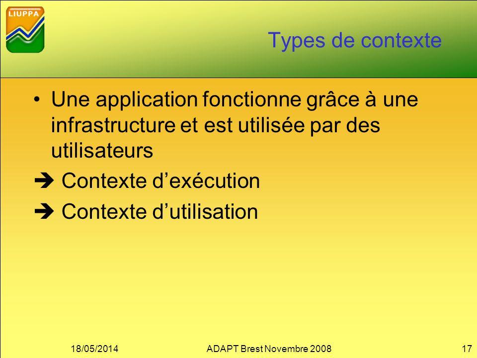 Types de contexte Une application fonctionne grâce à une infrastructure et est utilisée par des utilisateurs Contexte dexécution Contexte dutilisation 18/05/2014ADAPT Brest Novembre 200817
