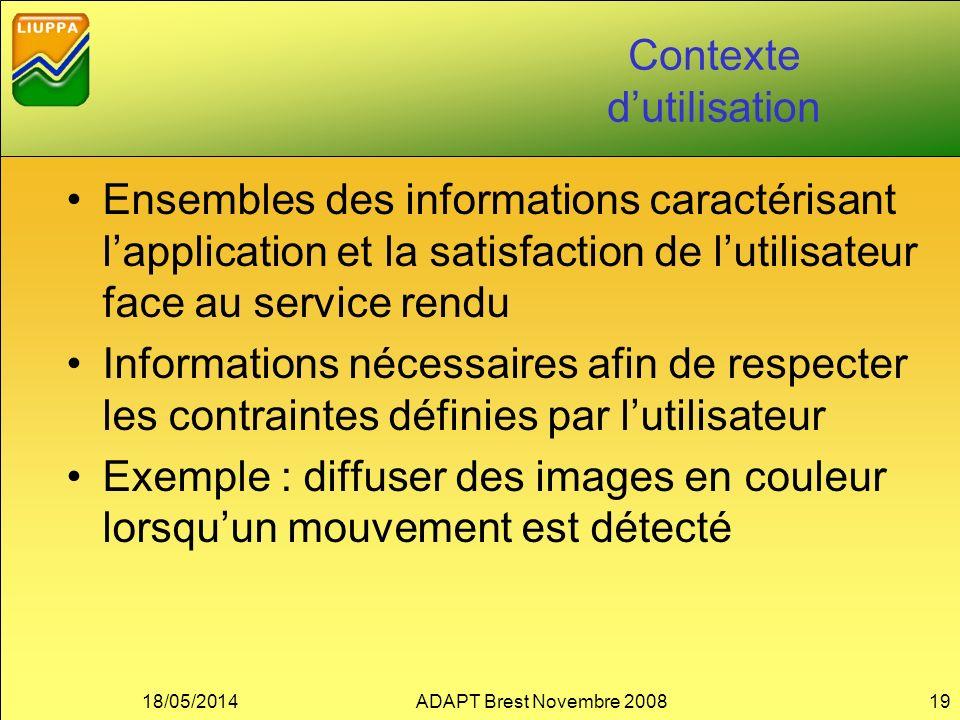Contexte dutilisation Ensembles des informations caractérisant lapplication et la satisfaction de lutilisateur face au service rendu Informations néce