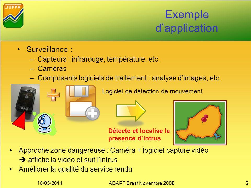 18/05/2014ADAPT Brest Novembre 20082 Exemple dapplication Surveillance : –Capteurs : infrarouge, température, etc. –Caméras –Composants logiciels de t