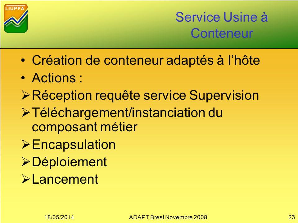 Service Usine à Conteneur Création de conteneur adaptés à lhôte Actions : Réception requête service Supervision Téléchargement/instanciation du compos