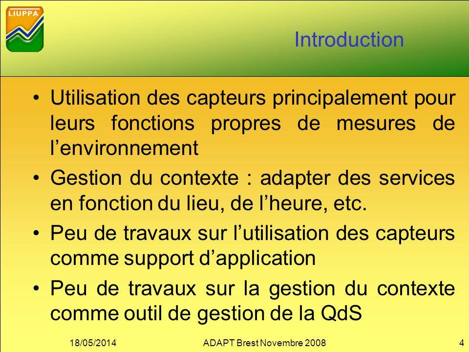 Introduction Utilisation des capteurs principalement pour leurs fonctions propres de mesures de lenvironnement Gestion du contexte : adapter des servi
