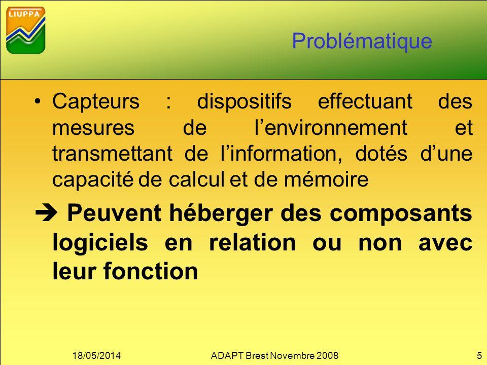 Problématique Capteurs : dispositifs effectuant des mesures de lenvironnement et transmettant de linformation, dotés dune capacité de calcul et de mém