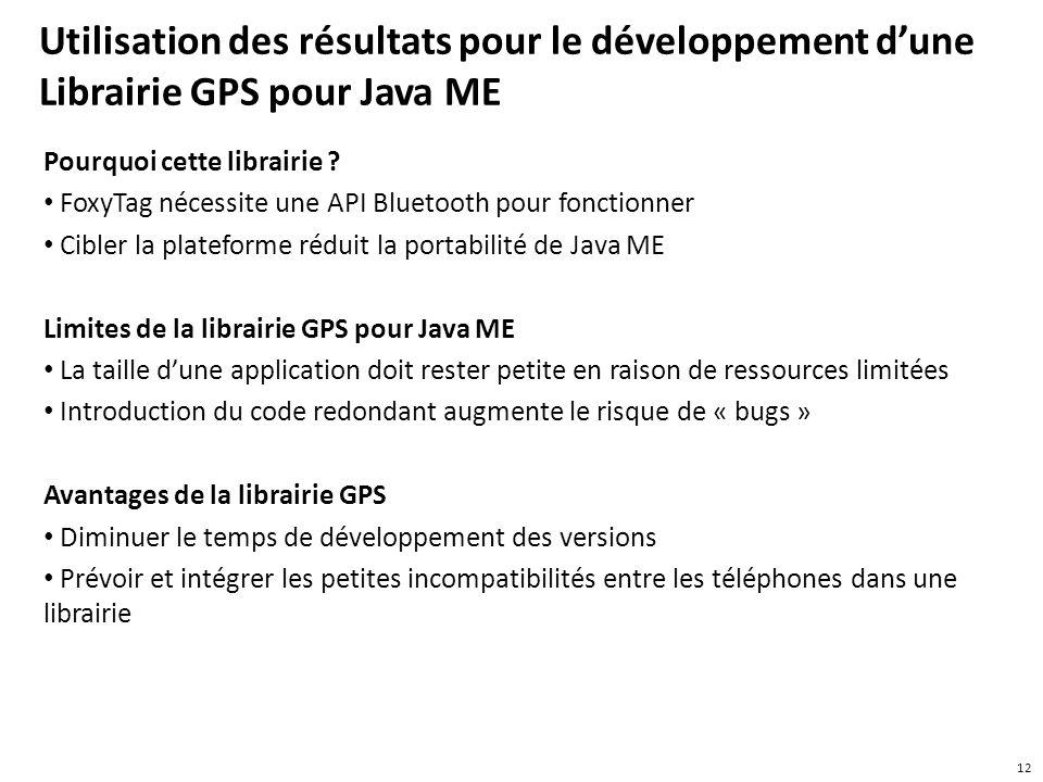 Utilisation des résultats pour le développement dune Librairie GPS pour Java ME Pourquoi cette librairie ? FoxyTag nécessite une API Bluetooth pour fo