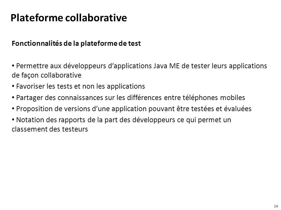 Plateforme collaborative Fonctionnalités de la plateforme de test Permettre aux développeurs dapplications Java ME de tester leurs applications de faç