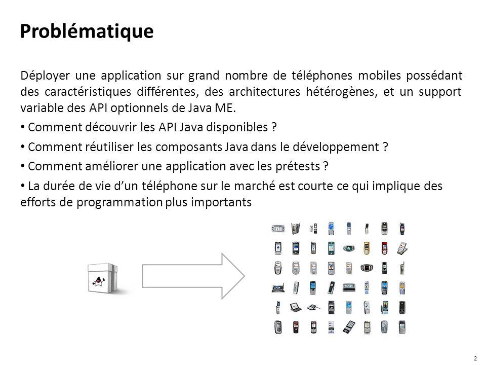 Problématique Déployer une application sur grand nombre de téléphones mobiles possédant des caractéristiques différentes, des architectures hétérogène