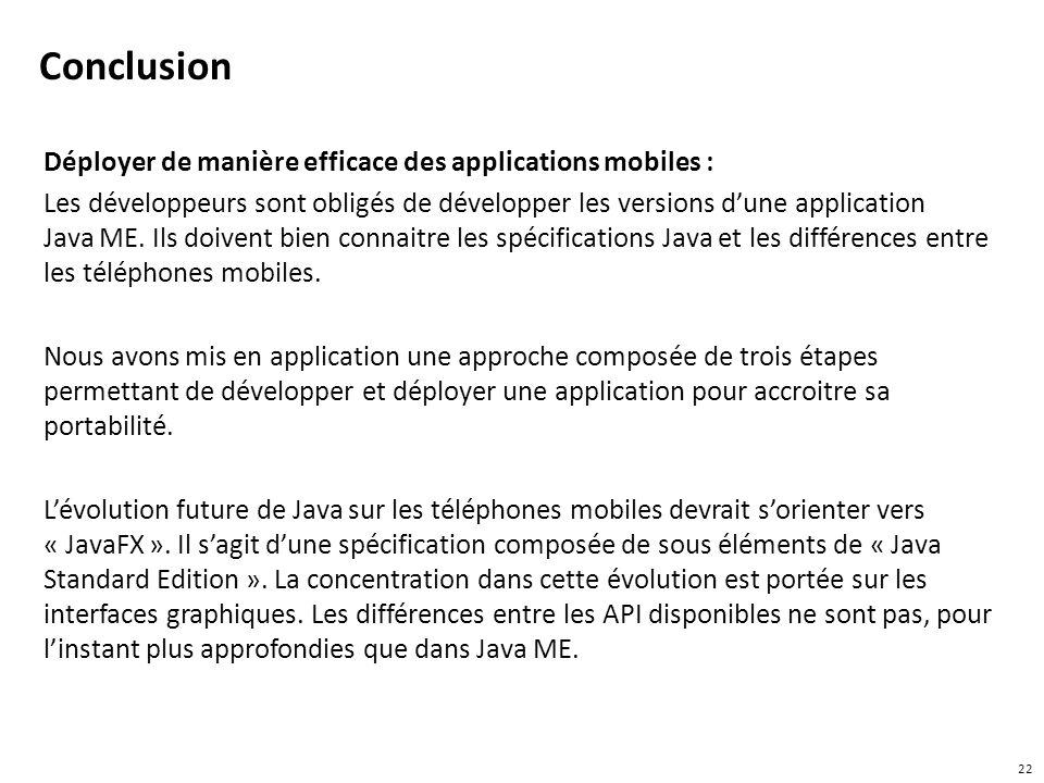 Conclusion Déployer de manière efficace des applications mobiles : Les développeurs sont obligés de développer les versions dune application Java ME.