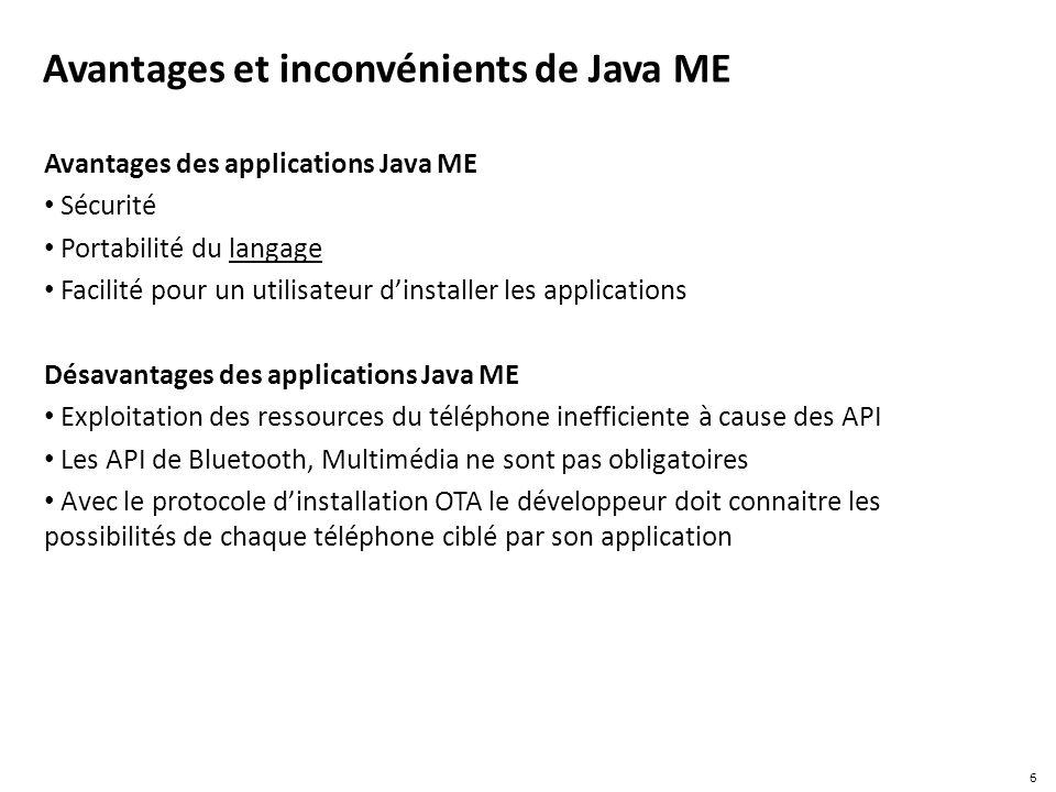 Avantages et inconvénients de Java ME Avantages des applications Java ME Sécurité Portabilité du langage Facilité pour un utilisateur dinstaller les a