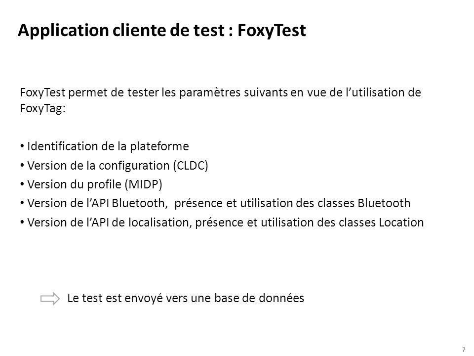 5532 lignes de code La taille de la librairie compilée = 12.417 KO Utilisée dans le développement des versions de FoxyTag Intégrée dès la distribution 0.4.2 de FoxyTag Le code source de FoxyTag reste le même pour les GPS intégrés et les GPS Bluetooth Besoin de prétest Après le développement et la généralisation de la librairie, il reste le test de lapplication Le test doit porter surtout sur les téléphones avec le GPS intégré 18 Statistique de la librairie