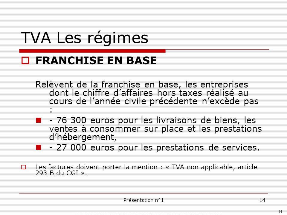 14 Cours de Master »Finance dentreprise SEF » auteur: Peggy Gaumont Présentation n°114 TVA Les régimes FRANCHISE EN BASE Relèvent de la franchise en b