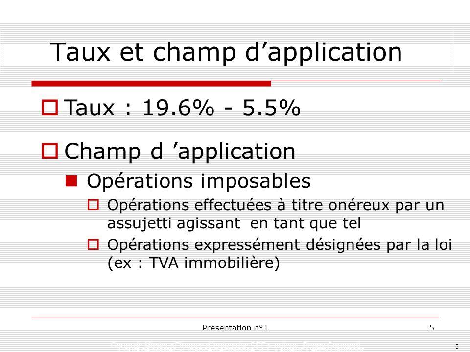 5 Cours de Master »Finance dentreprise SEF » auteur: Peggy Gaumont Présentation n°15 Taux et champ dapplication Taux : 19.6% - 5.5% Champ d applicatio