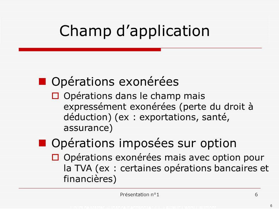 6 Présentation n°16 Opérations exonérées Opérations dans le champ mais expressément exonérées (perte du droit à déduction) (ex : exportations, santé,