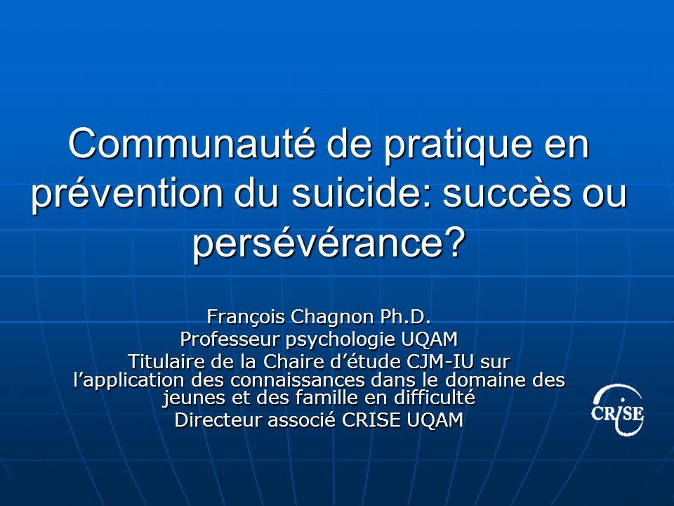 Communauté de pratique en prévention du suicide: succès ou persévérance.