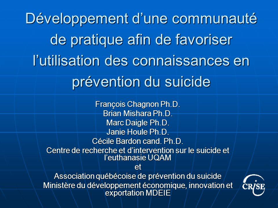 Développement dune communauté de pratique afin de favoriser lutilisation des connaissances en prévention du suicide François Chagnon Ph.D.