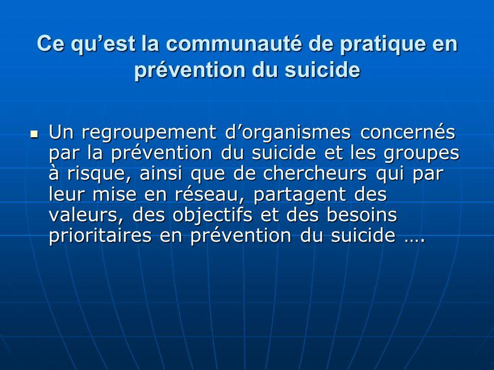 Ce quest la communauté de pratique en prévention du suicide Un regroupement dorganismes concernés par la prévention du suicide et les groupes à risque, ainsi que de chercheurs qui par leur mise en réseau, partagent des valeurs, des objectifs et des besoins prioritaires en prévention du suicide ….