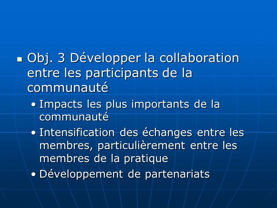 Obj. 3 Développer la collaboration entre les participants de la communauté Obj.