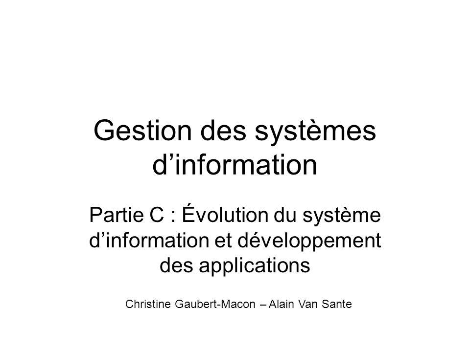 GSI : partie C La partie C sintéresse à lévolution du SI et AU développement des applications, support du SI : –Cadre du développement –Adaptation de lapplication –Intégration à lorganisation
