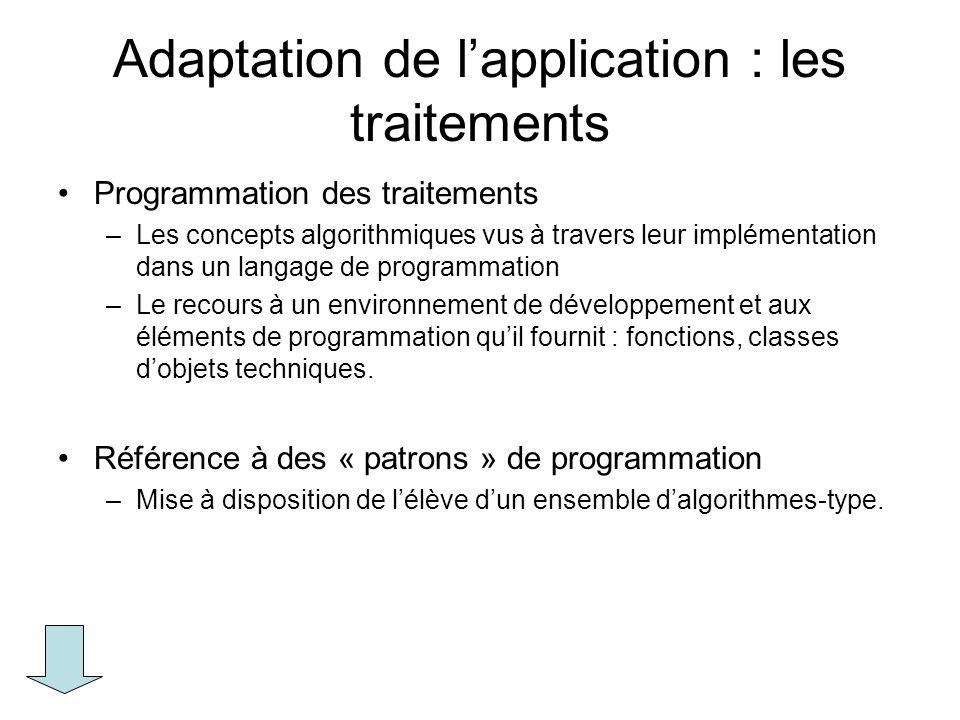 Adaptation de lapplication : les traitements Programmation des traitements –Les concepts algorithmiques vus à travers leur implémentation dans un lang