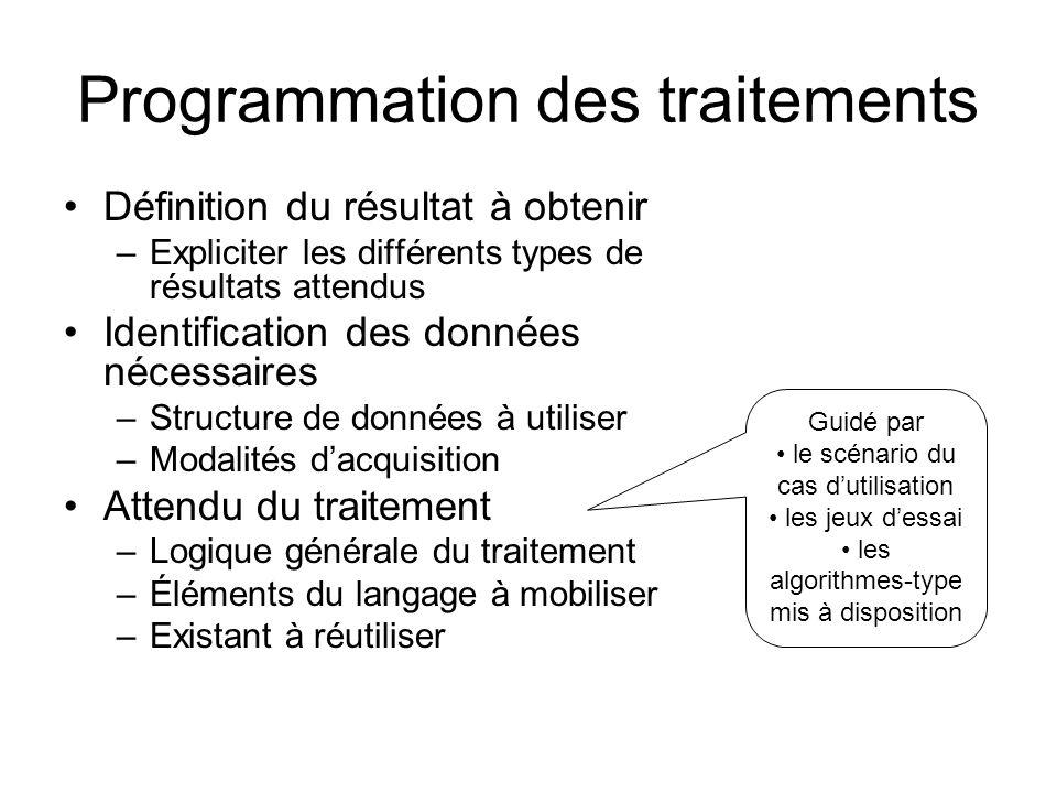 Programmation des traitements Définition du résultat à obtenir –Expliciter les différents types de résultats attendus Identification des données néces