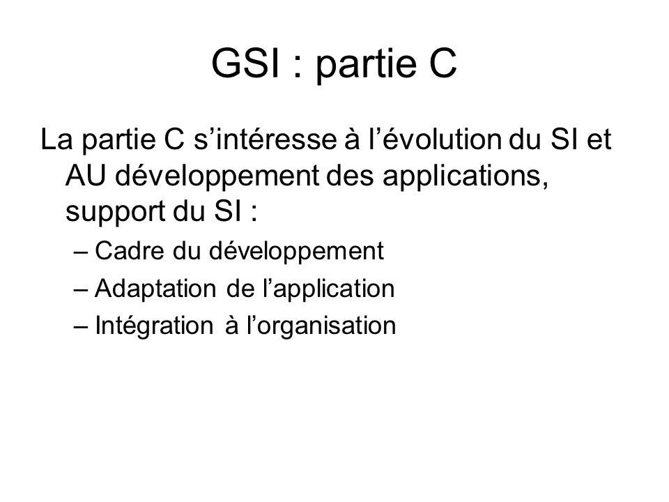 GSI : partie C La partie C sintéresse à lévolution du SI et AU développement des applications, support du SI : –Cadre du développement –Adaptation de