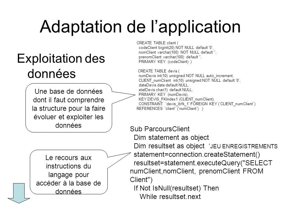 Adaptation de lapplication : les traitements Programmation des traitements –Les concepts algorithmiques vus à travers leur implémentation dans un langage de programmation –Le recours à un environnement de développement et aux éléments de programmation quil fournit : fonctions, classes dobjets techniques.