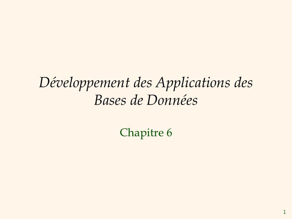 1 Développement des Applications des Bases de Données Chapitre 6