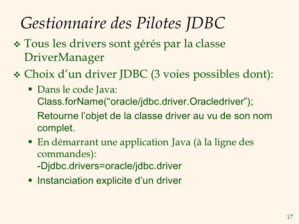 17 Gestionnaire des Pilotes JDBC Tous les drivers sont gérés par la classe DriverManager Choix dun driver JDBC (3 voies possibles dont): Dans le code Java: Class.forName(oracle/jdbc.driver.Oracledriver); Retourne lobjet de la classe driver au vu de son nom complet.